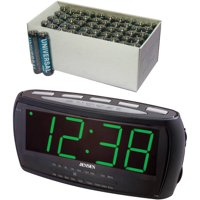 Jensen JCR-208 AM/FM Alarm Clock Radio, Includes 50 AAA Batteries