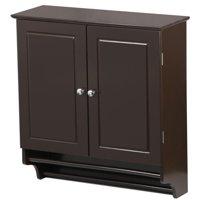 Yaheetech Bathroom/Kitchen Wall Mounted Cabinet Double Door & Hanging Bar Storage Cupboard, Espresso