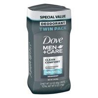 Dove Men+Care Clean Comfort Deodorant Stick, 3.0 oz, Twin Pack