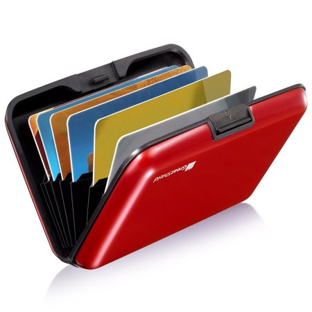 - GreatShield RFID Blocking Wallet [8 Slots | Aluminum] Portable Travel Identity ID / Credit Card Safe Protection Card Holder Hard Case for Men and Women (Red)