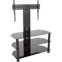 "AVF Stand with TV Mount for TVs up to 65"", Black Glass, Black Legs"