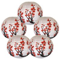 Red Sakura (Cherry) Flowers White Paper Lantern, 16in, 5ct