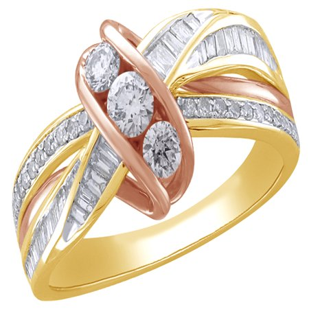 White Natural Diamond Linear Three Stone Wrap Ring in Two-Tone 10k Yellow Gold By Jewel Zone US
