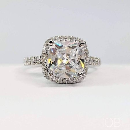 ON SALE - Regina 3CT Cushion Cut Halo IOBI Simulated Diamond Ring 4.5 / - Platinum Tiffany Style Ring