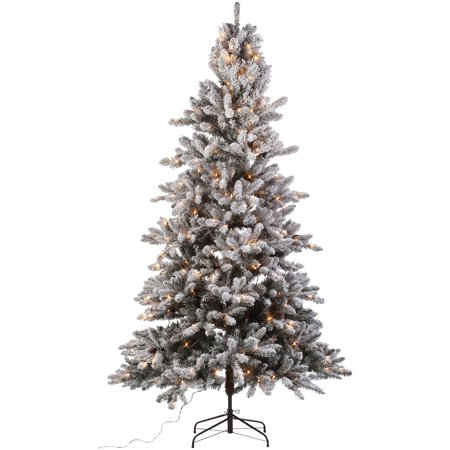 Holiday Time 7.5 ft. Pre-Lit Flocked Birmingham Fir Tree 400 Clear Lights  and - Holiday Time 7.5 Ft. Pre-Lit Flocked Birmingham Fir Tree 400 Clear