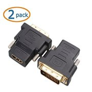 2 Pack DVI Male to HDMI Female M-F Adapter Converter For HDTV LCD LED Monitor