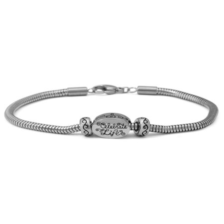 Stainless-Steel Celebrate Life Starter Bracelet, 7.25, 7.75 or 8.25