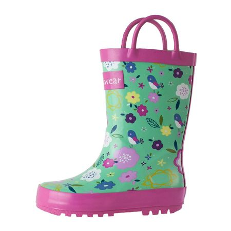 Oakiwear Kids Rain Boots For Boys Girls Toddlers Children, Green Floral - Kids Harley Boots