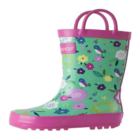 Oakiwear Kids Rain Boots For Boys Girls Toddlers Children, Green Floral](Go Go Boots For Girls)