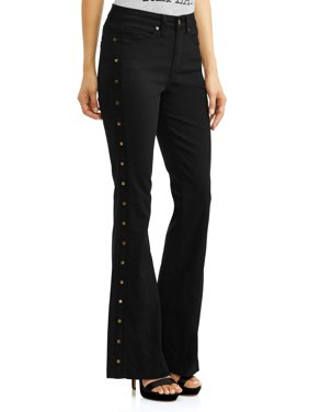 Gloria Studded Sides High Waist Stretch Flare Jean Women's (Black)