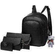 29fa84cff1c Vbiger 4-in-1 Backpack Set Trendy 4 Pieces PU Leather Backpacks Stylish  Shoulder
