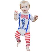d291af3be9 Baby Boy First Birthday Outfit 1st Onesie Bow Tie Suspenders Leg Warmers  One Set 12-