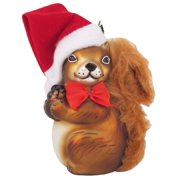9743f2fa054ae Squirrel in Santa Hat Christmas Holiday Glass Ornament