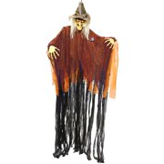 Hanging 9 Foot Scary Scarecrow Witch, Cackle Laughs, Red LED Eyes Prop Decoration - Spooky Cackling, Sound & Touch Activated - Huge Haunted House Graveyard Entryway Display