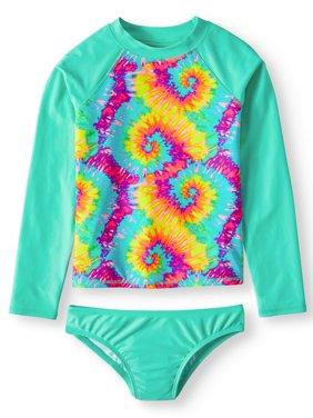 Long Sleeve Rash Guard and Bikini Bottom, 2-Piece Swim Set (Little Girls, Big Girls & Big Girls Plus)