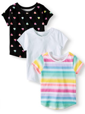 Solid & Printed T-Shirts, 3pc Multi-Pack (Toddler Girls)
