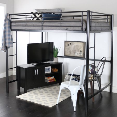Premium Full Size Black Metal Loft Bed Walmart Com