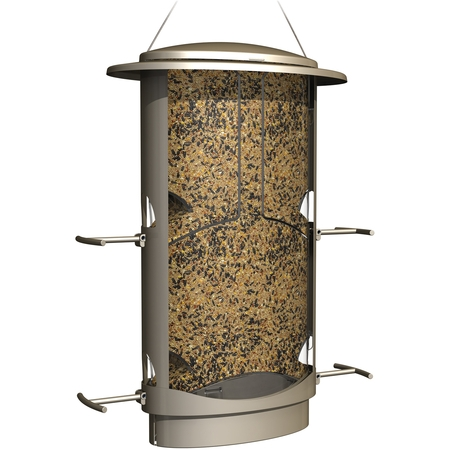 - More Birds Squirrel-Proof Feeder, 4.2 Pound Seed Capacity, 4 Feeding Ports, X-1