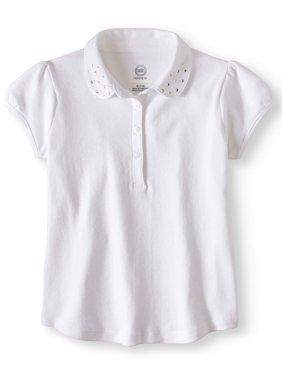 Wonder Nation Girls' School Uniform Short Sleeve Rhinestone Polo