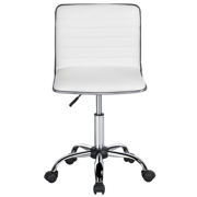 Pu Leather Low Back Armless Desk Chair Ribbed Swivel Task Office With Wheels
