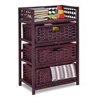 Gymax Storage Chest Tower Shelf 3 Drawer Wicker Baskets Storage Unit