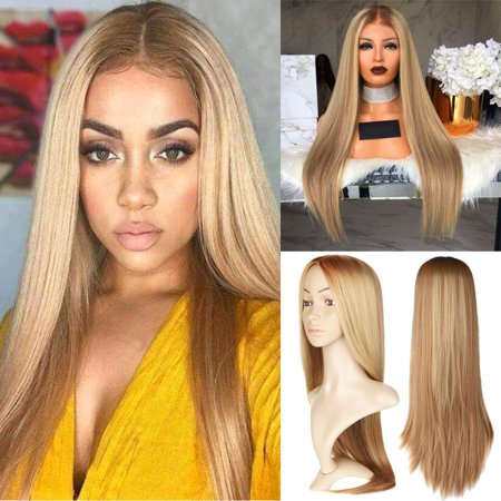 "LuckyFine 28"" Straight Sleek Long Full Blonde Synthetic Hair Wigs Cosplay Costume for Women"