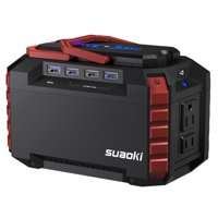 SUAOKI Portable Power Station 150Wh Quiet Gas Free Solar Generator QC3.0 UPS Lithium Power Supply with Dual 110V AC Outlet, 4 DC Ports, 4 USB Ports, LED Flashlights for Camping Travel CPAP Emergency