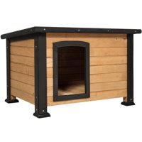 "Best Choice Products Wooden Weather-Resistant Log Cabin Dog House, Small, 25""x34""x22.25"", Brown"