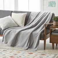 Better Homes and Gardens Oversize Reversible Velvet Plush Throw Blanket, Light Grey