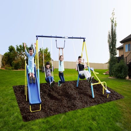 Sportspower Outdoor Super First Metal Swing Set with Trapeze, Teeter-Totter, and 6ft Heavy Duty - Playhouse Swing Sets