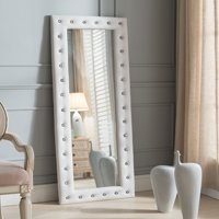 """Jane Floor Standing Mirror, White Upholstered Tufted Faux Leather, Transitional, With Crystal Buttons (63""""H x 22""""W)"""