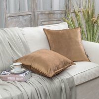 """Set of 2 Phantoscope Decorative Soft Velvet with Trimmed Throw Pillow Case Soft Soild Square Various Brown Color Throw Pillow Covers Cushion Case for Sofa Bedroom Car 18"""" x 18"""" 45 x 45 cm"""
