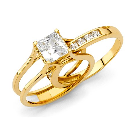 Channel Set Band Engagement Ring (1.25ctw Princess Cut Channel Set CZ Bridal 14k Yellow Gold Engagement With Match Band Promise Ring Wedding Band Size 6)