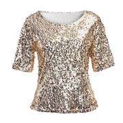 ba1e8e4ab1f Fashion Women Sequins Sparkle Coctail Party Casual Top Blouse Crop Tops  Shirt