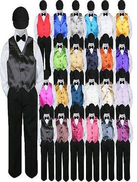 23 Color Vest Black Bow Tie Hat Pants Boys Baby Toddler Formal Suits 5pc Set S-7