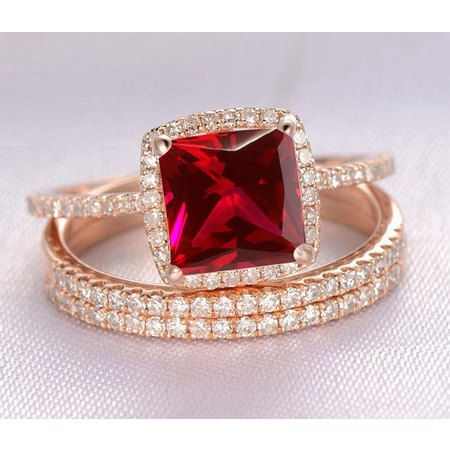 1.50 Carat Red Ruby (princess cut Ruby) and Diamond Engagement Bridal Trio Wedding Ring Set in 14k Rose Gold