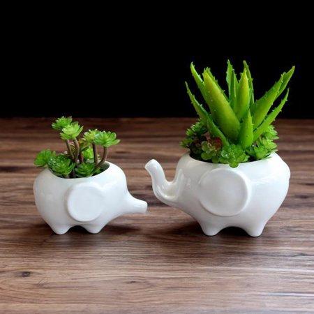Kawaii Animals Ceramic Flower pot Elephant Succulent Planter Cactus Succulent Plants Flower Cute White Pot (1PCS (Porcelain Elephant Plant Stand)