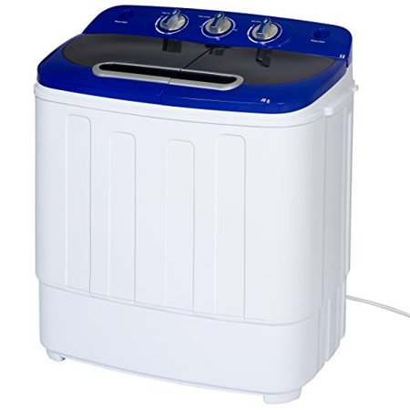 Best Choice Products Portable Compact Mini Twin Tub Washing Machine and Spin Cycle w/ Hose
