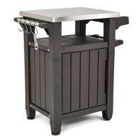 Keter Unity Resin Serving Station, All-Weather Plastic and Metal Grill, Storage and Prep Table, 40 Gal, Brown
