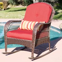 Best Choice Products Wicker Rocking Chair Patio Porch Deck  All Weather Proof  W/ Cushions