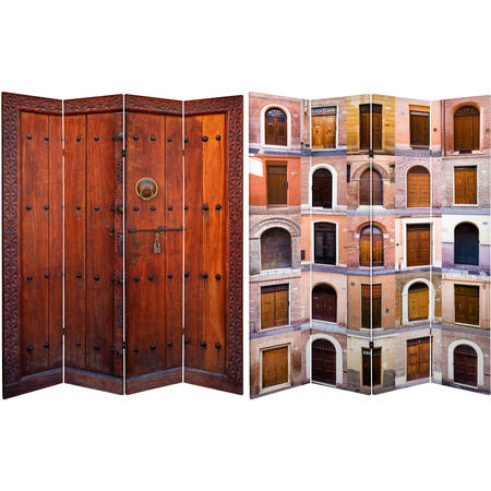 - 6' Tall Double Sided Doors Canvas Room Divider 4 Panel