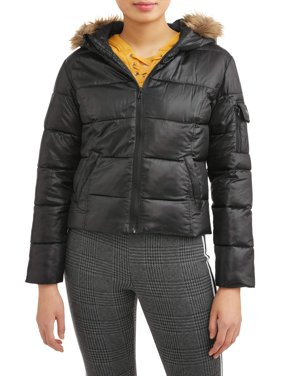 Juniors Down Blend Hooded Puffer Jacket with Faux Fur Rim