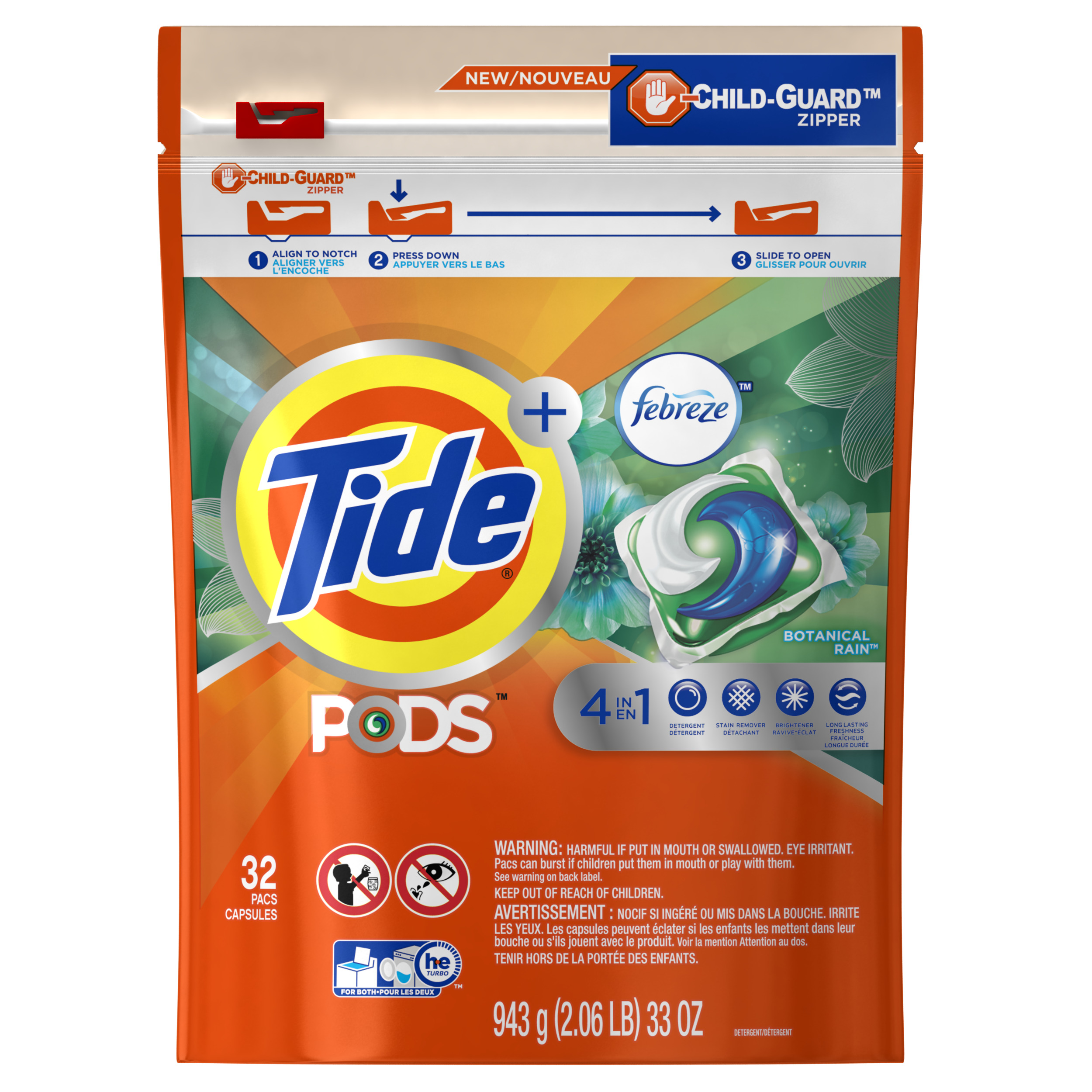 Tide PODS Laundry Detergent with Febreze, Botanical Rain, 32 count