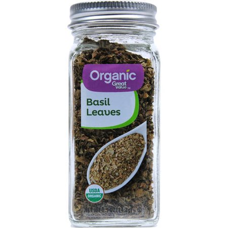 (3 Pack) Great Value Organic Basil Leaves, 0.5 oz