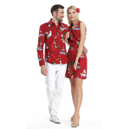 Hawaiian Christmas (Couple Matching Hawaiian Luau Cruise Christmas Outfit Shirt Dress Santa Red Men L Women)
