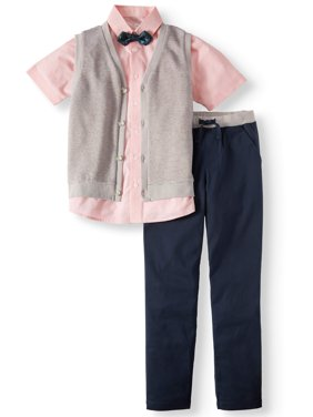 Dressy Set with Striped Knit Vest, Coral Slub Short Sleeve Shirt, Bow Tie, and Twill Pull-On Pants, 4-Piece Outfit Set (Little Boys & Big Boys)