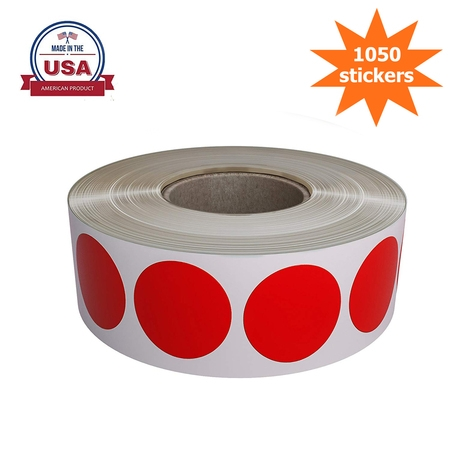 "Red Dot Labels Stickers for color coding on rolls, Permanent adhesive round label 19mm ( 3/4"" inch ) - 1050 Pack By Royal Green"