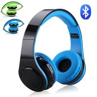 Excelvan Folding Wireless Bluetooth LED Stereo Headphones Adjustable Headsets, FM Radio/ TF Card for iPhone All Android Smartphones PC Laptop MP3/MP4 Tablet Earphones