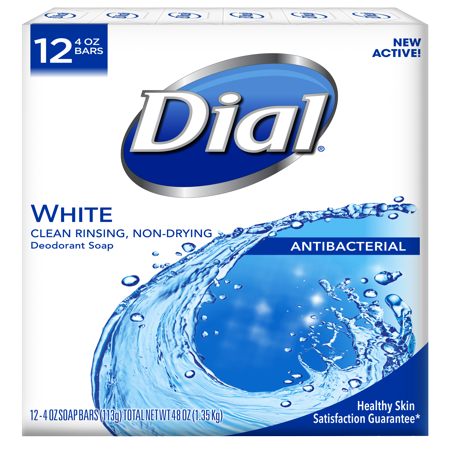 Dial Antibacterial Deodorant Bar Soap, White, 4 Ounce Bars, 12 Count