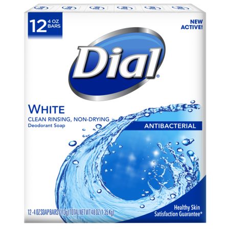 Dial Antibacterial Deodorant Bar Soap, White, 4 Ounce Bars, 12 Count 5 Strings Soap Bar